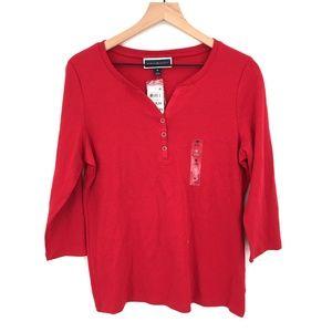 NEW Karen Scott Henley t-shirt top soft cotton classic holiday Red M women's